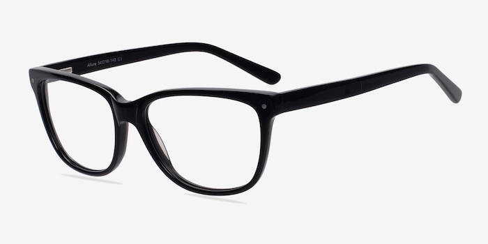Allure Black Acetate Eyeglass Frames from EyeBuyDirect, Angle View