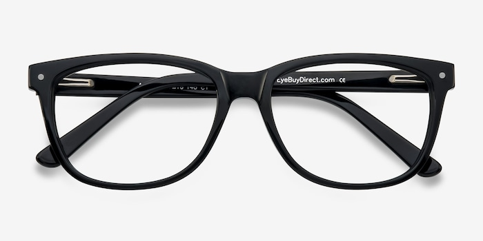 Allure Black Acetate Eyeglass Frames from EyeBuyDirect, Closed View