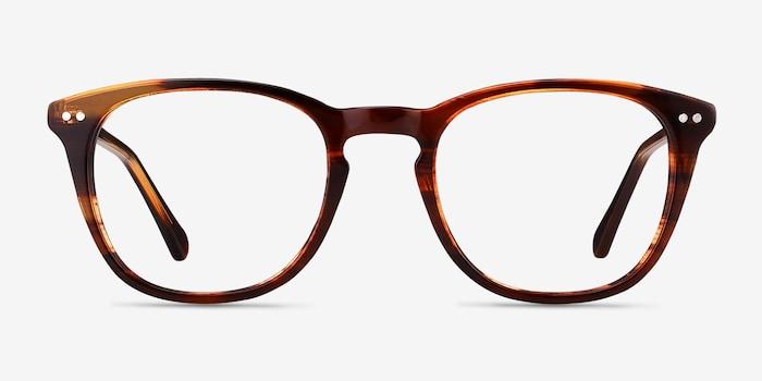 New Day Brown Acetate Eyeglass Frames from EyeBuyDirect, Front View