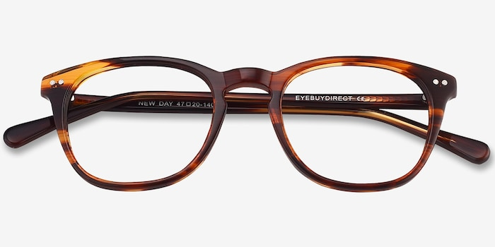 New Day Brown Acetate Eyeglass Frames from EyeBuyDirect, Closed View