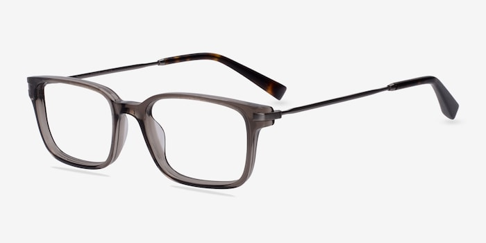 Dreamer Clear/Gray Acetate Eyeglass Frames from EyeBuyDirect, Angle View