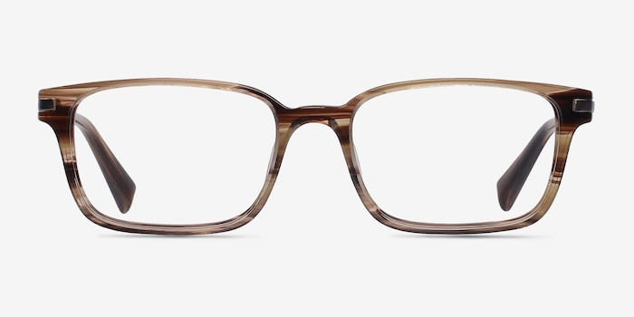 Dreamer Brown/Striped Acetate Eyeglass Frames from EyeBuyDirect, Front View