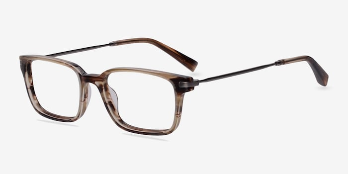 Dreamer Brown/Striped Acetate Eyeglass Frames from EyeBuyDirect, Angle View