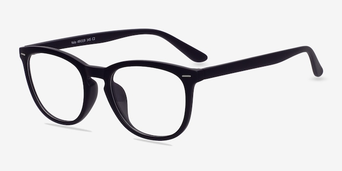 Yolo Matte Navy Plastic Eyeglass Frames from EyeBuyDirect, Angle View