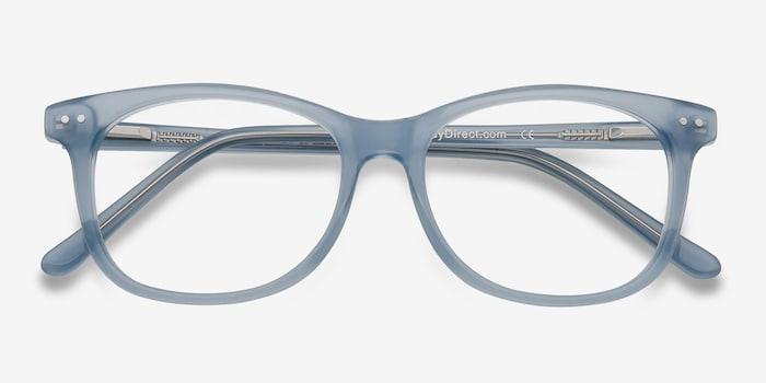 Brittany Clear/Blue Acetate Eyeglass Frames from EyeBuyDirect, Closed View