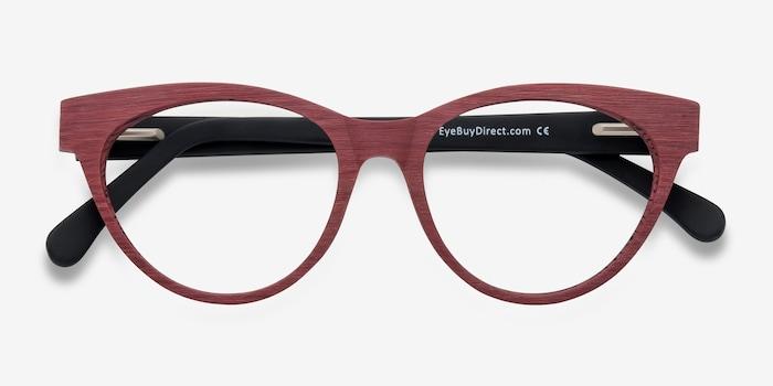 Jane Birkin Berry Red Acetate Eyeglass Frames from EyeBuyDirect, Closed View