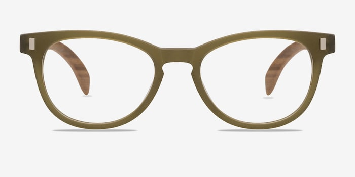 Sahara Matte Green Plastic Eyeglass Frames from EyeBuyDirect, Front View