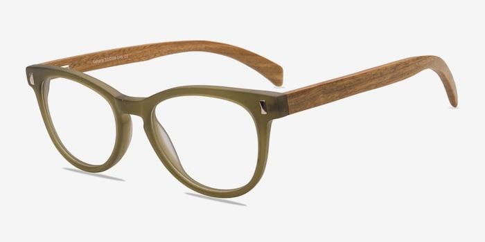 Sahara Matte Green Plastic Eyeglass Frames from EyeBuyDirect, Angle View