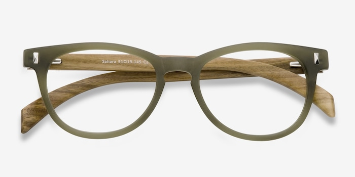 Sahara Matte Green Plastic Eyeglass Frames from EyeBuyDirect, Closed View