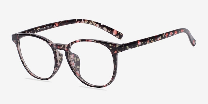 Chilling Red/Floral Plastic Eyeglass Frames from EyeBuyDirect, Angle View