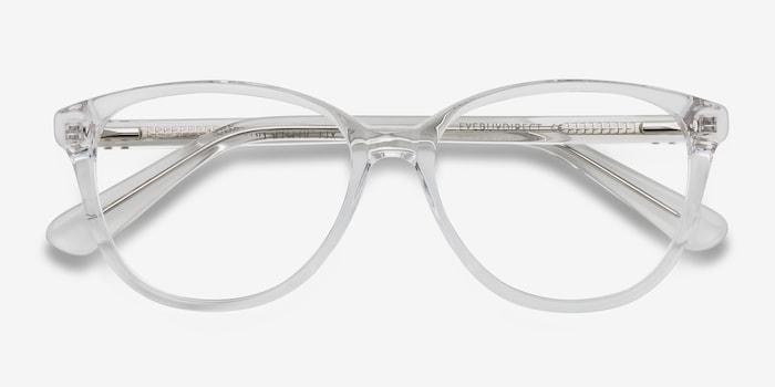 Hepburn | Clear/White | Women Acetate Eyeglasses | EyeBuyDirect