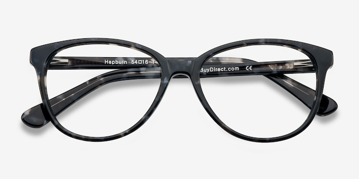 Hepburn Gray/Floral Acetate Eyeglass Frames from EyeBuyDirect, Closed View