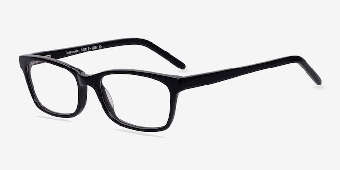 Mesquite Black Acetate Eyeglass Frames from EyeBuyDirect, Angle View