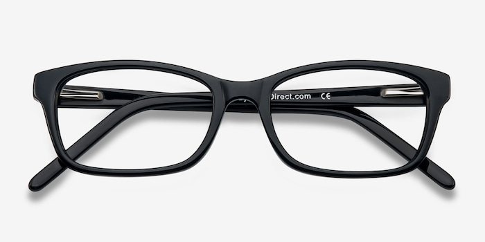Mesquite Black Acetate Eyeglass Frames from EyeBuyDirect, Closed View