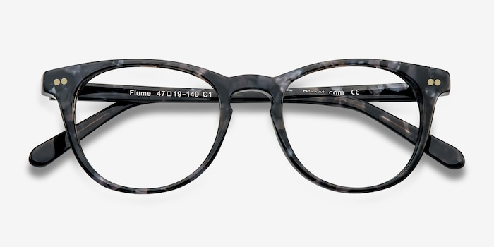 Flume Gray/Floral Acetate Eyeglass Frames from EyeBuyDirect, Closed View