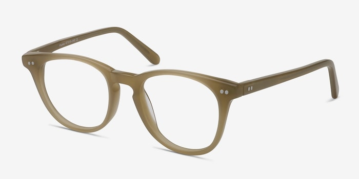 Flume Taupe Acetate Eyeglass Frames from EyeBuyDirect, Angle View