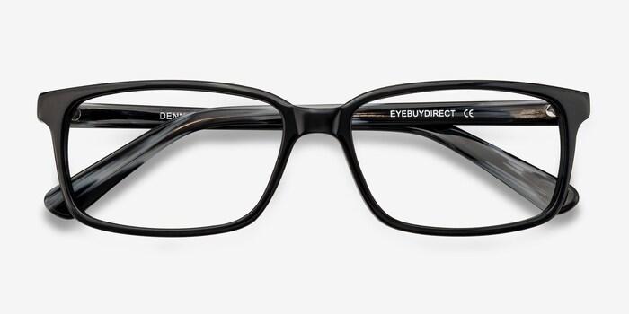 Denny Black/Gray Acetate Eyeglass Frames from EyeBuyDirect, Closed View