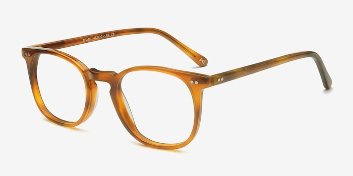 Shade Cinnamon Acetate Eyeglass Frames from EyeBuyDirect, Angle View
