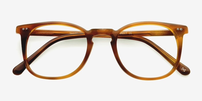 Shade Cinnamon Acetate Eyeglass Frames from EyeBuyDirect, Closed View