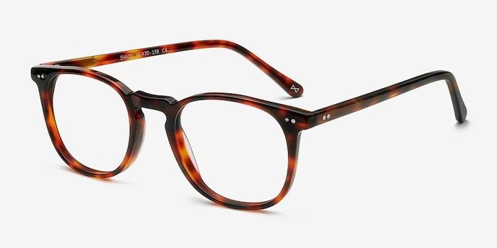 Shade Warm Tortoise Acetate Eyeglass Frames from EyeBuyDirect, Angle View