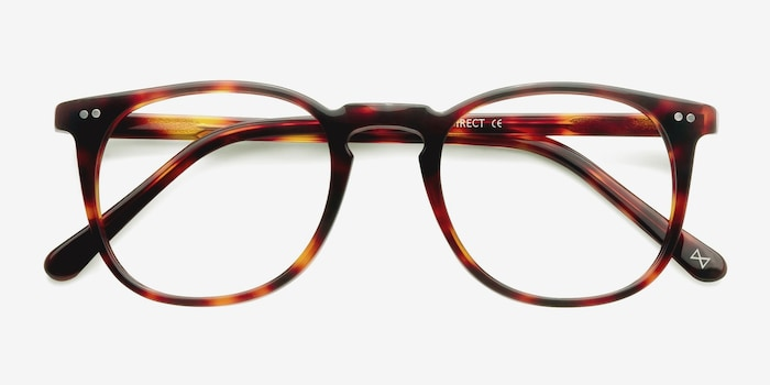 Shade Warm Tortoise Acetate Eyeglass Frames from EyeBuyDirect, Closed View
