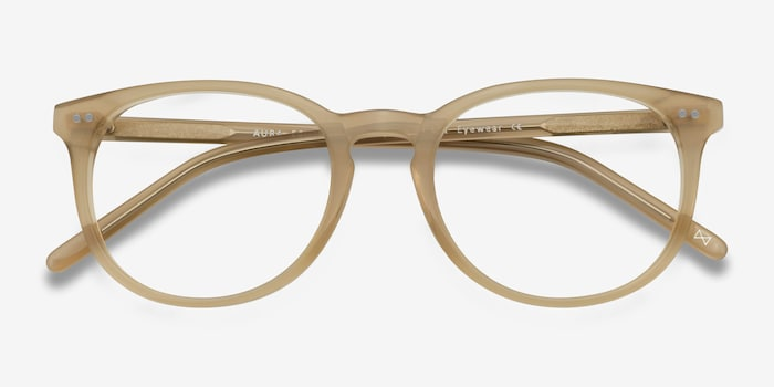 Aura Matte Champagne Acetate Eyeglass Frames from EyeBuyDirect, Closed View