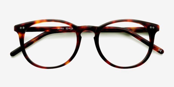 Aura Warm Tortoise Acetate Eyeglass Frames from EyeBuyDirect, Closed View