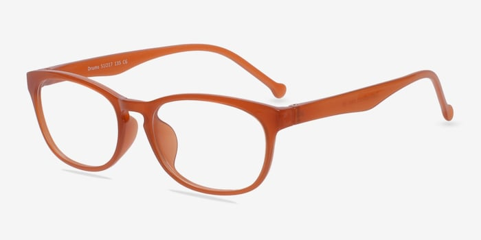 Drums Orange Plastic Eyeglass Frames from EyeBuyDirect, Angle View