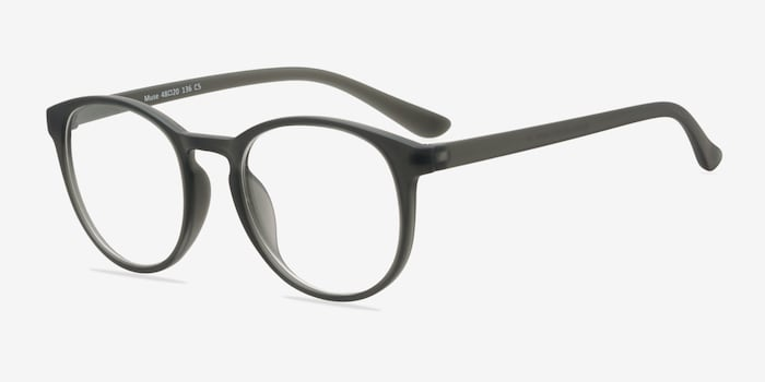Muse Matte Gray Plastic Eyeglass Frames from EyeBuyDirect, Angle View