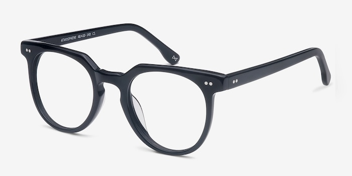 Atmosphere Jet Black Acetate Eyeglass Frames from EyeBuyDirect, Angle View