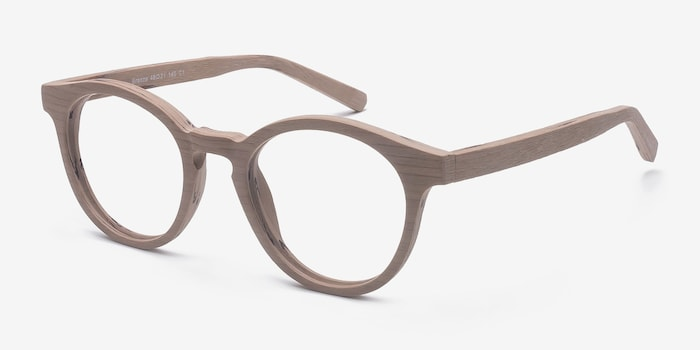 Breeze Beige Acetate Eyeglass Frames from EyeBuyDirect, Angle View