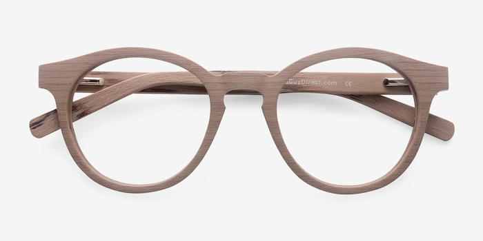 Breeze Beige Acetate Eyeglass Frames from EyeBuyDirect, Closed View