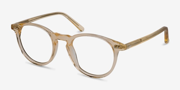 Kyoto  Clear Yellow  Acetate Eyeglass Frames from EyeBuyDirect, Angle View
