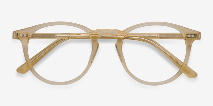 Kyoto  Clear Yellow  Acetate Eyeglass Frames from EyeBuyDirect, Closed View