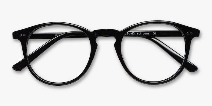Kyoto  Black  Acetate Eyeglass Frames from EyeBuyDirect, Closed View