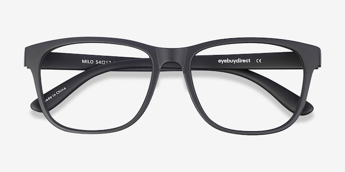 Milo Matte Black Plastic Eyeglass Frames from EyeBuyDirect, Closed View