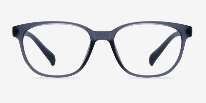 Moody Matte Gray Plastic Eyeglass Frames from EyeBuyDirect, Front View