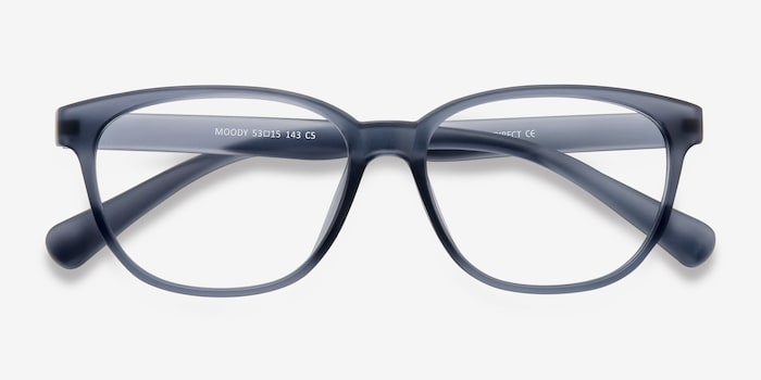 Moody Matte Gray Plastic Eyeglass Frames from EyeBuyDirect, Closed View