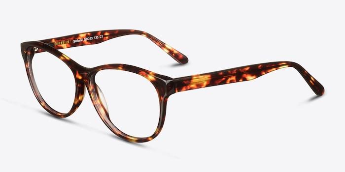 Sofia Tortoise Acetate Eyeglass Frames from EyeBuyDirect, Angle View
