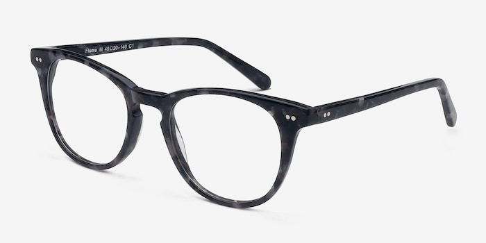 Flume Gray Floral Acetate Eyeglass Frames from EyeBuyDirect, Angle View