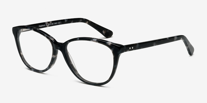 Hepburn Gray Floral Acetate Eyeglass Frames from EyeBuyDirect, Angle View