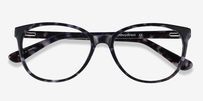 Hepburn Gray Floral Acetate Eyeglass Frames from EyeBuyDirect, Closed View