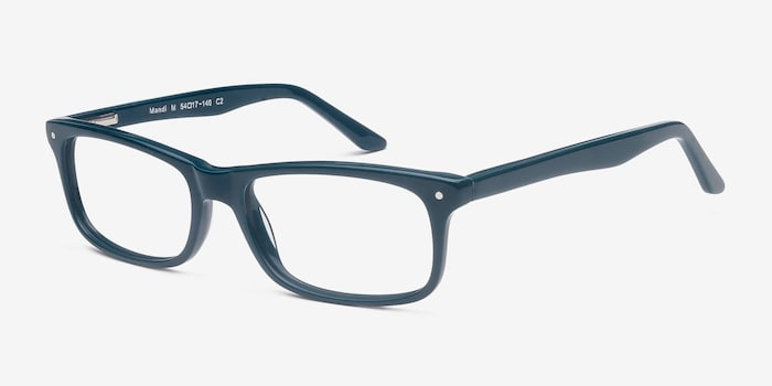 Mandi Teal Acetate Eyeglass Frames from EyeBuyDirect, Angle View
