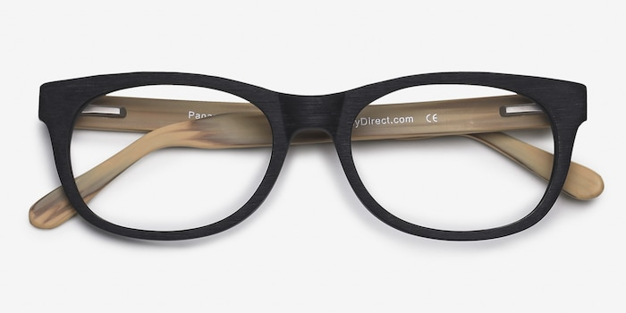 Panama Black Acetate Eyeglass Frames from EyeBuyDirect, Closed View