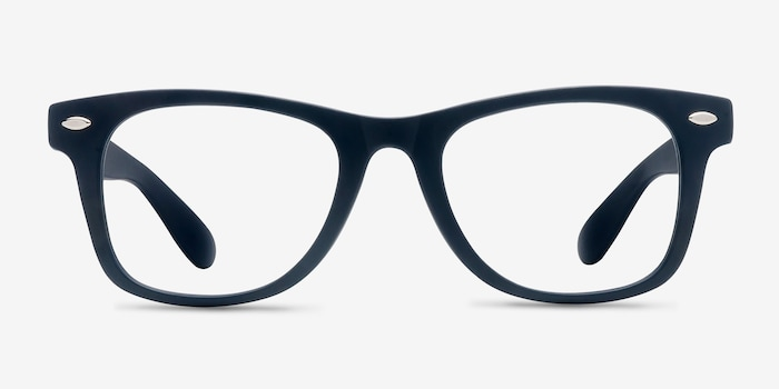 Atlee Matte navy Plastic Eyeglass Frames from EyeBuyDirect, Front View