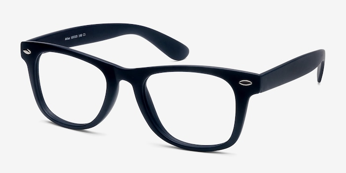 Atlee Matte navy Plastic Eyeglass Frames from EyeBuyDirect, Angle View
