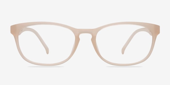 Drums Frosted White Plastic Eyeglass Frames from EyeBuyDirect, Front View