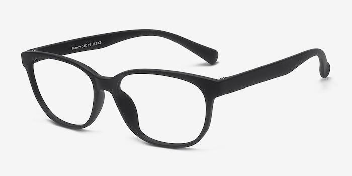 Moody Matte Black Plastic Eyeglass Frames from EyeBuyDirect, Angle View