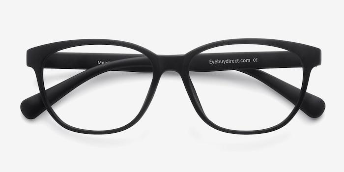 Moody Matte Black Plastic Eyeglass Frames from EyeBuyDirect, Closed View