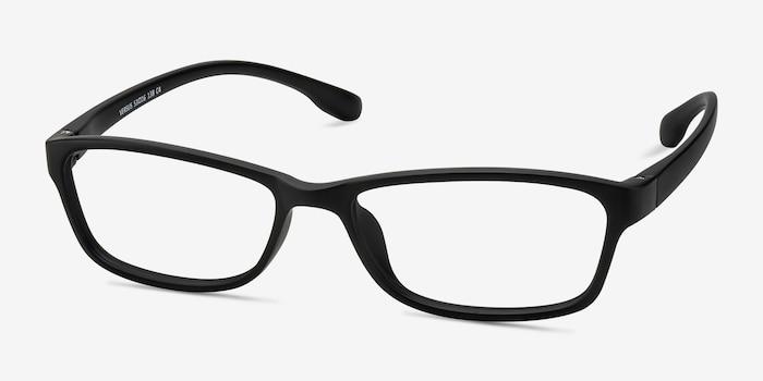 Versus Matte Black Plastic Eyeglass Frames from EyeBuyDirect, Angle View